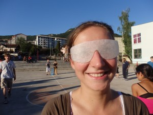 Participant wearing VI Glasses during the blind cricket game