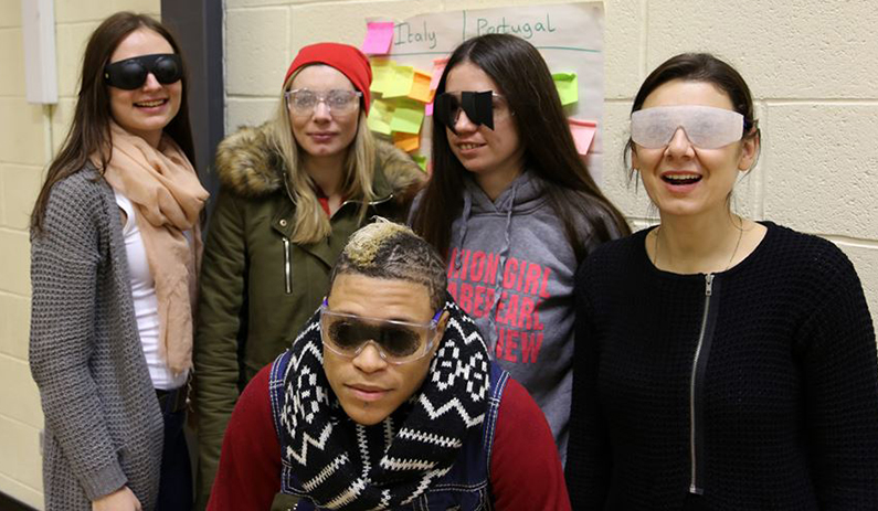 Group trying on the vi glasses